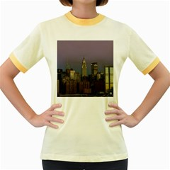 Skyline City Manhattan New York Women s Fitted Ringer T Shirts