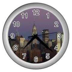 Skyline City Manhattan New York Wall Clocks (silver)
