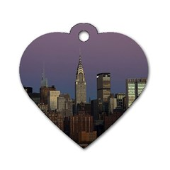 Skyline City Manhattan New York Dog Tag Heart (two Sides)
