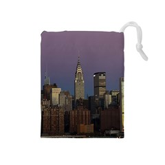 Skyline City Manhattan New York Drawstring Pouches (medium)
