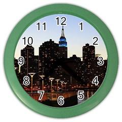 New York City Skyline Building Color Wall Clocks