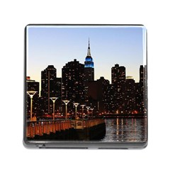 New York City Skyline Building Memory Card Reader (square)