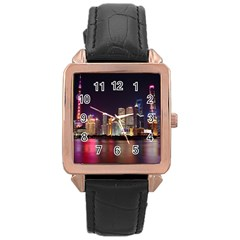 Building Skyline City Cityscape Rose Gold Leather Watch