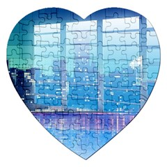 Skyscrapers City Skyscraper Zirkel Jigsaw Puzzle (heart)