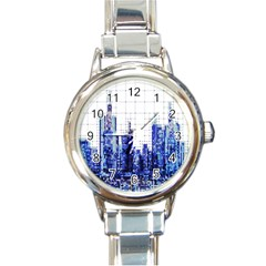 Skyscrapers City Skyscraper Zirkel Round Italian Charm Watch