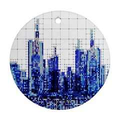 Skyscrapers City Skyscraper Zirkel Round Ornament (two Sides)