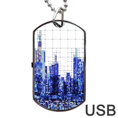 Skyscrapers City Skyscraper Zirkel Dog Tag Usb Flash (one Side)