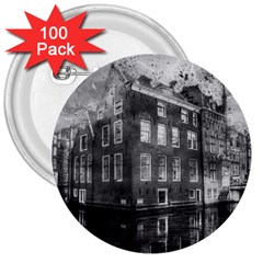 Reflection Canal Water Street 3  Buttons (100 Pack)