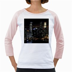 City At Night Lights Skyline Girly Raglans