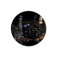 City At Night Lights Skyline Rubber Round Coaster (4 Pack)