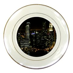 City At Night Lights Skyline Porcelain Plates