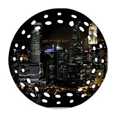 City At Night Lights Skyline Ornament (round Filigree)