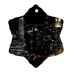 City At Night Lights Skyline Snowflake Ornament (two Sides)