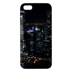 City At Night Lights Skyline Apple Iphone 5 Premium Hardshell Case by Simbadda