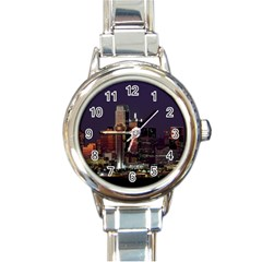 Dallas Texas Skyline Dusk Usa Round Italian Charm Watch