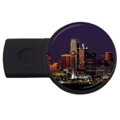 Dallas Texas Skyline Dusk Usa Usb Flash Drive Round (4 Gb)