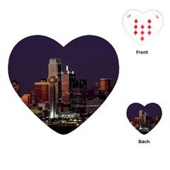 Dallas Texas Skyline Dusk Usa Playing Cards (heart)