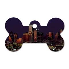 Dallas Texas Skyline Dusk Usa Dog Tag Bone (two Sides)