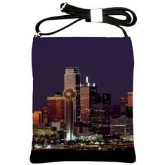 Dallas Texas Skyline Dusk Usa Shoulder Sling Bags by Simbadda