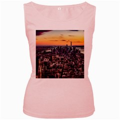 New York Skyline Architecture Nyc Women s Pink Tank Top