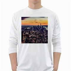 New York Skyline Architecture Nyc White Long Sleeve T Shirts