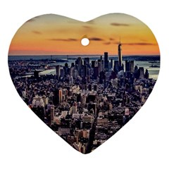 New York Skyline Architecture Nyc Heart Ornament (two Sides)