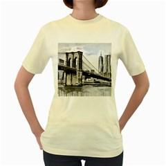 City Skyline Skyline City Cityscape Women s Yellow T Shirt
