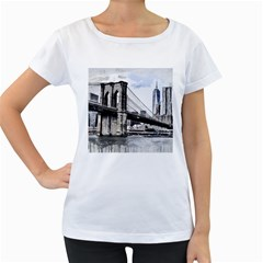 City Skyline Skyline City Cityscape Women s Loose Fit T Shirt (white) by Simbadda