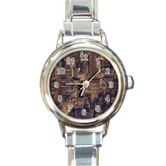 New York City Skyline Nyc Round Italian Charm Watch by Simbadda