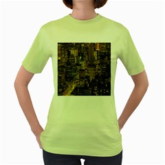 New York City Skyline Nyc Women s Green T Shirt
