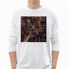 New York City Skyline Nyc White Long Sleeve T Shirts