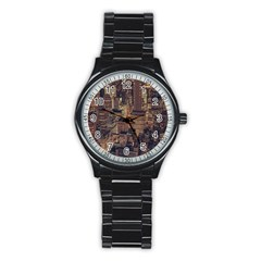 New York City Skyline Nyc Stainless Steel Round Watch