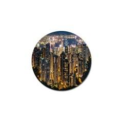 Panorama Urban Landscape Town Center Golf Ball Marker (4 Pack)
