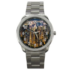 Panorama Urban Landscape Town Center Sport Metal Watch