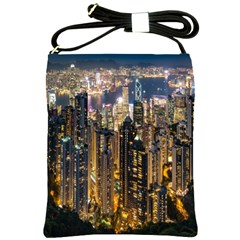 Panorama Urban Landscape Town Center Shoulder Sling Bags by Simbadda
