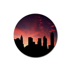 Skyline Panoramic City Architecture Rubber Coaster (round)