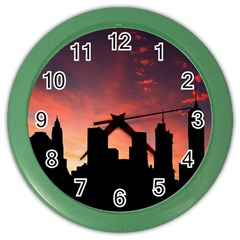 Skyline Panoramic City Architecture Color Wall Clocks