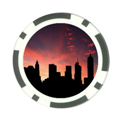 Skyline Panoramic City Architecture Poker Chip Card Guard (10 Pack)