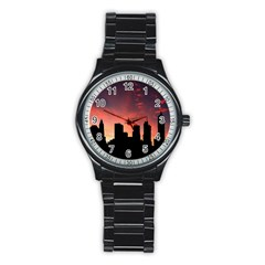 Skyline Panoramic City Architecture Stainless Steel Round Watch