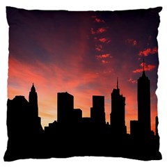 Skyline Panoramic City Architecture Large Flano Cushion Case (one Side)