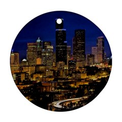 Skyline Downtown Seattle Cityscape Ornament (round) by Simbadda
