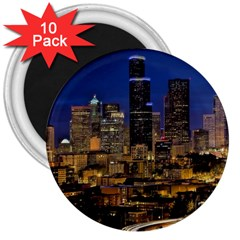 Skyline Downtown Seattle Cityscape 3  Magnets (10 Pack)