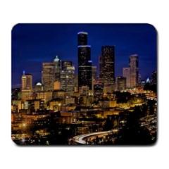 Skyline Downtown Seattle Cityscape Large Mousepads by Simbadda