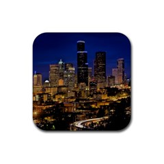 Skyline Downtown Seattle Cityscape Rubber Coaster (square)  by Simbadda