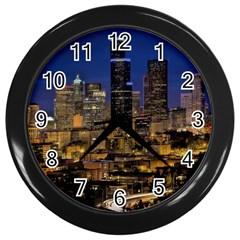 Skyline Downtown Seattle Cityscape Wall Clocks (black) by Simbadda