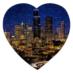 Skyline Downtown Seattle Cityscape Jigsaw Puzzle (heart) by Simbadda