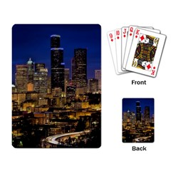 Skyline Downtown Seattle Cityscape Playing Card by Simbadda
