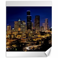 Skyline Downtown Seattle Cityscape Canvas 16  X 20   by Simbadda