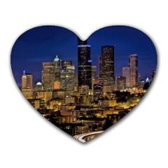 Skyline Downtown Seattle Cityscape Heart Mousepads by Simbadda