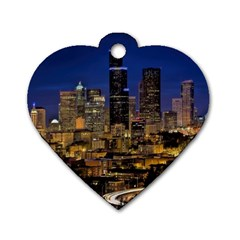 Skyline Downtown Seattle Cityscape Dog Tag Heart (two Sides)